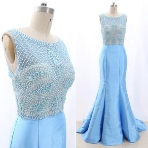 Mermaid Beaded Blue Prom Dress Pageant Ball Gown